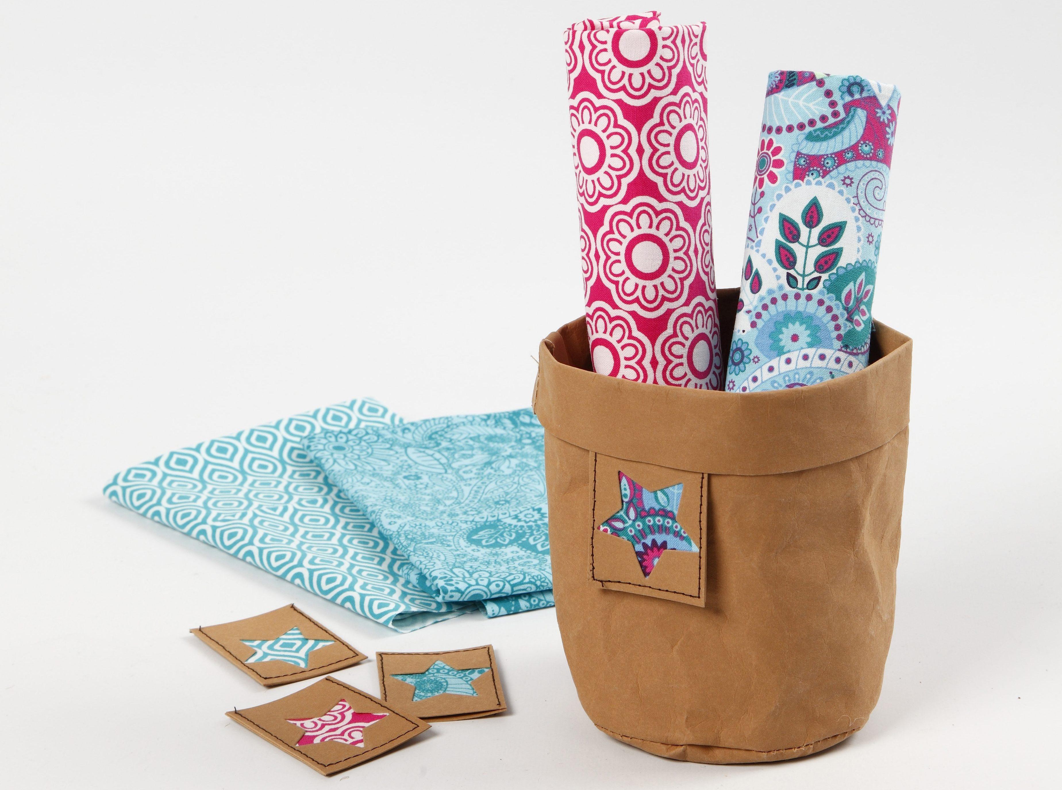 Lærpapirpose med tag og patchwork stoff