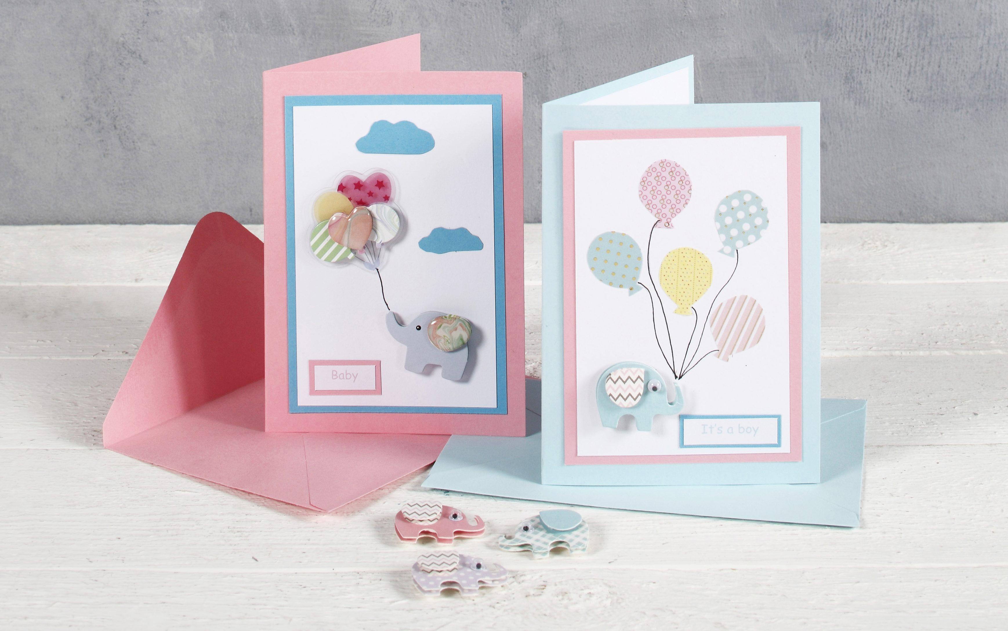 Baby shower kort med elefant og ballon