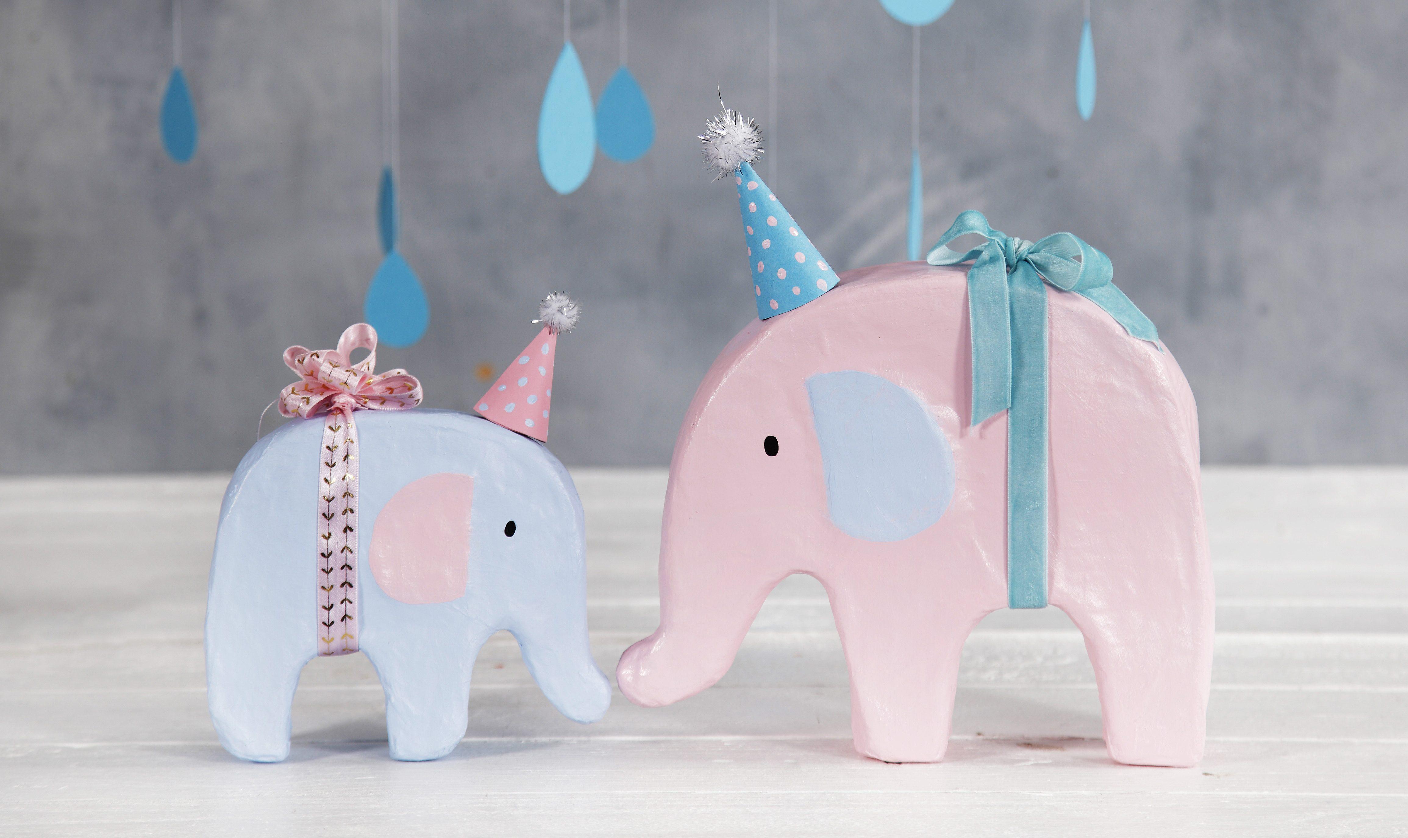 Baby shower elefant med hobbymaling og festhatt