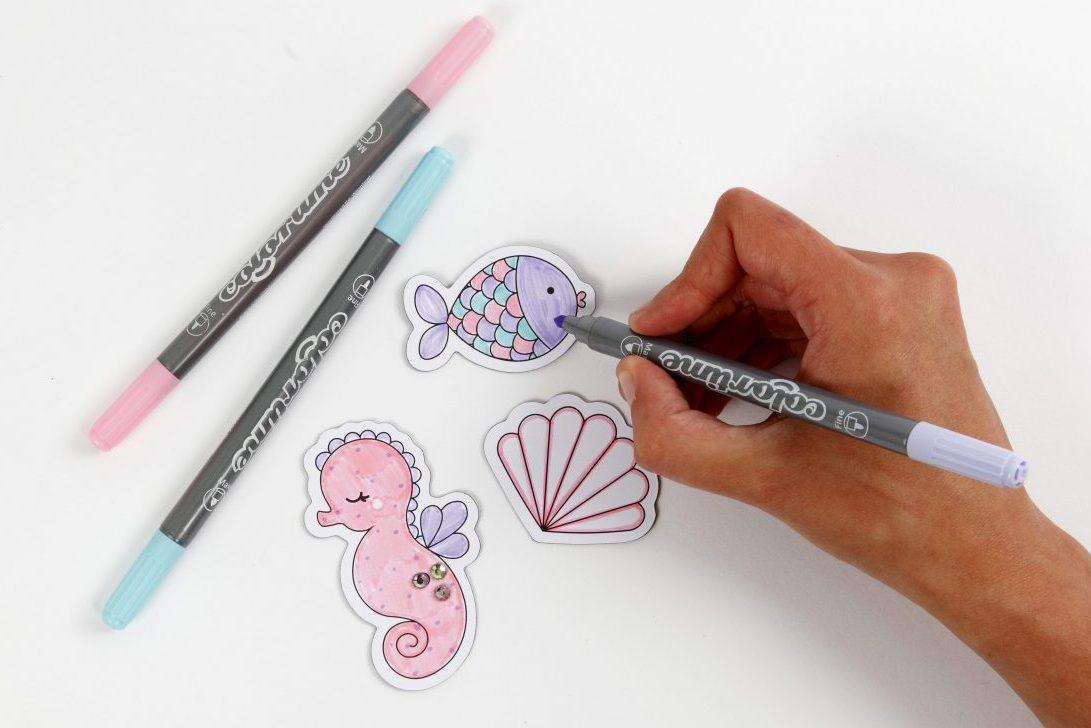 kreative idéer til børn, dekoration af magnet, farvelægning