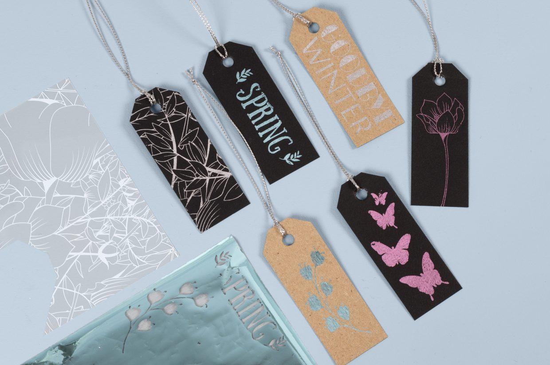 Vær kreativ med folie og limark, dekorationsfolie i farver til din kreativitet med papir og karton