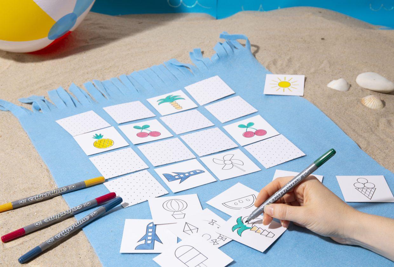 Morsom og kreativ ferie med barn - lag selv memoryspill med fargelegging