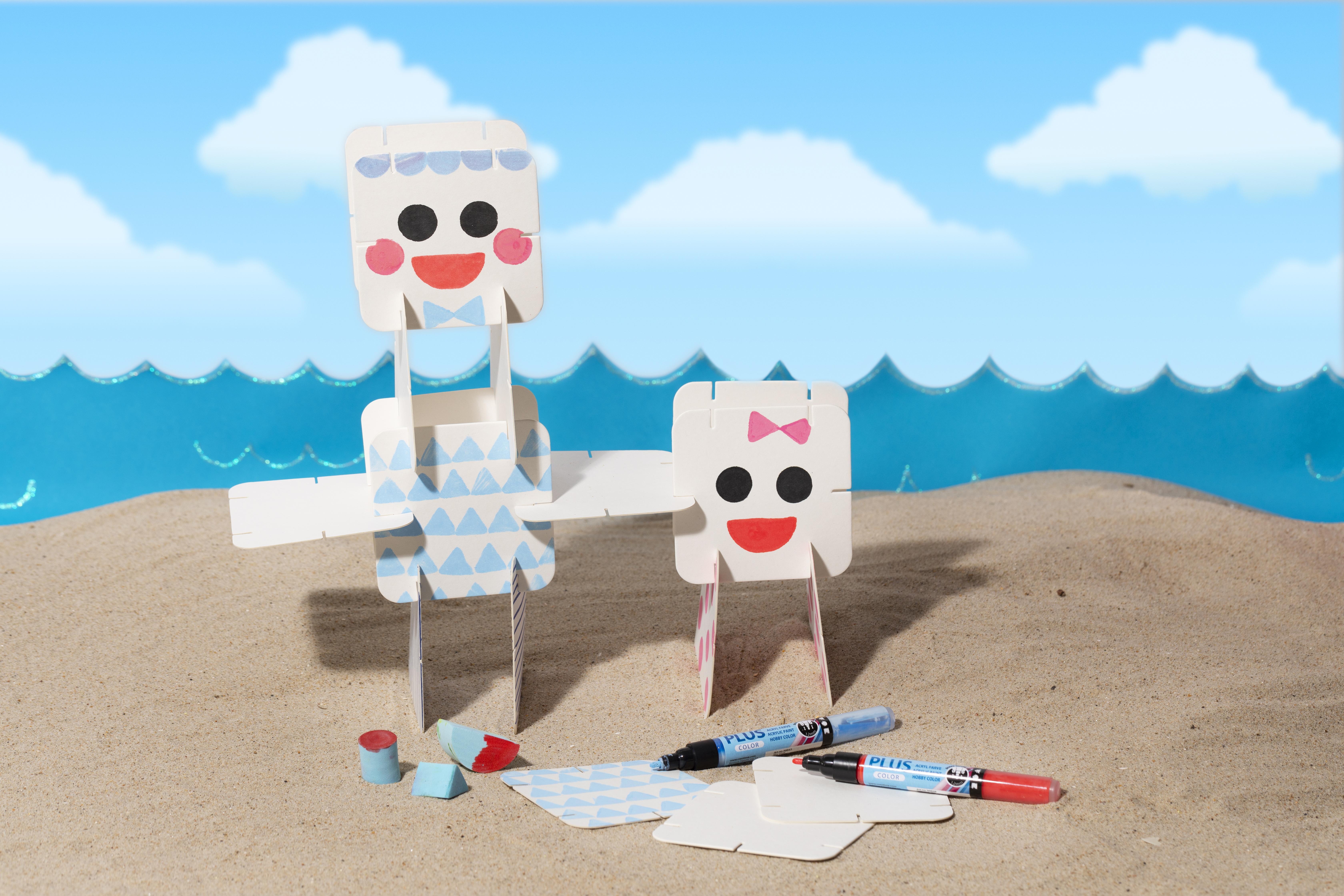 Morsom og kreativ ferie med barn - lag selv figurer med dekorasjon av konstruksjonsbrikker