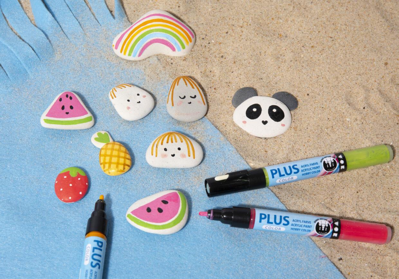 Inspirasjon til å male på sten med bl.a. Plus Color tusjer og Posca tusjer