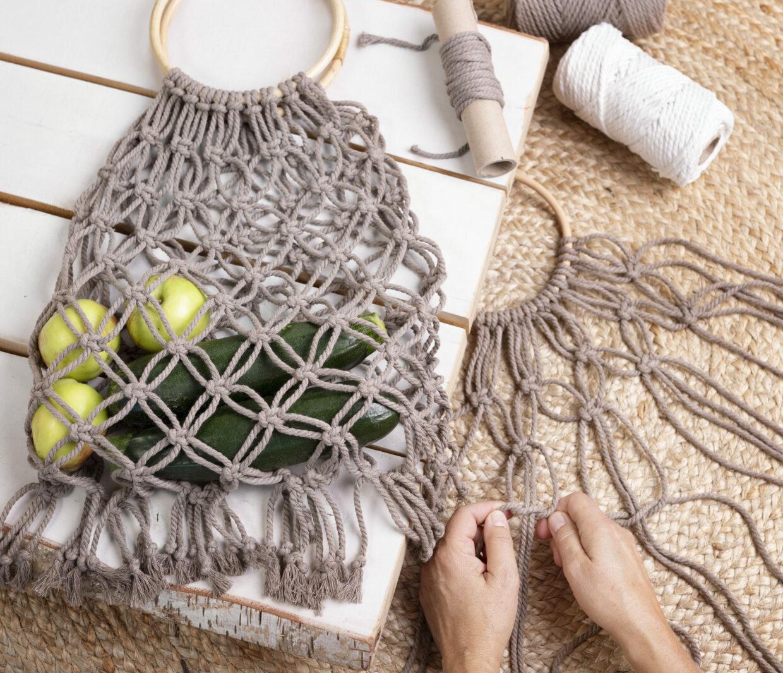 DIY macramé innkjøpsnet og hjemmelaget mulepose